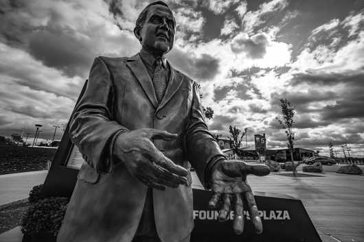 Founders Plaza. RW Statue in BW from the Founders Plaza at New Era Field Print Selection collection by clear. photography