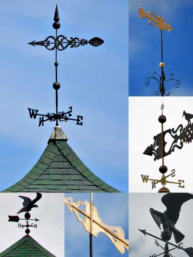 Collage of builder topping weathervanes  from the Building Toppers collection by jndphoto