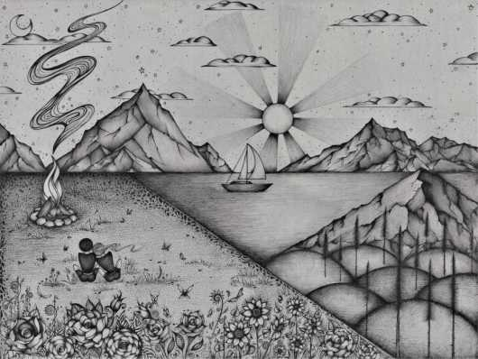 Campfire Dream from the Pen & Ink Drawings collection by Zan Schaefer