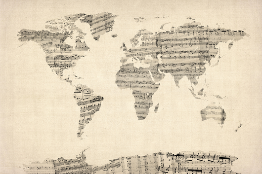 Map of the World Map from Old Sheet Music 2x3 from the Maps collection by ArtPause