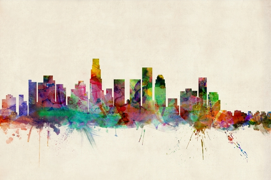 Los Angeles California Skyline 2x3 from the Skylines collection by ArtPause