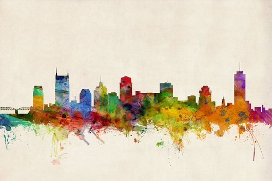 Nashville Tennessee Skyline 2x3 from the Skylines collection by ArtPause
