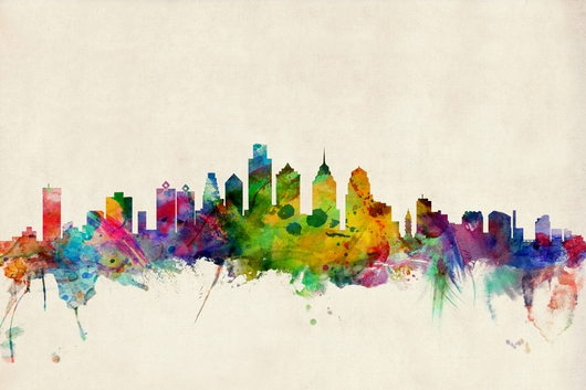 Philadelphia Pennsylvania Skyline 2x3 from the Skylines collection by ArtPause