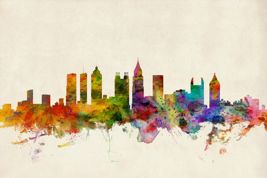 Atlanta Georgia Skyline Beige Background from the Skylines collection by ArtPause