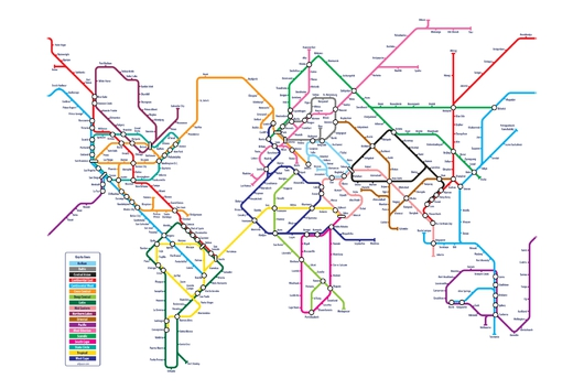 World Metro Map 2x3 from the Maps collection by ArtPause