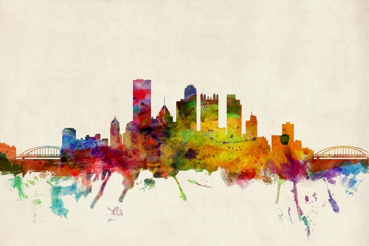 Pittsburgh Pennsylvania Skyline 2x3 from the Skylines collection by ArtPause