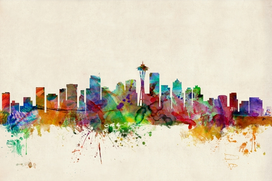 Seattle Washington Skyline 2x3 from the Skylines collection by ArtPause