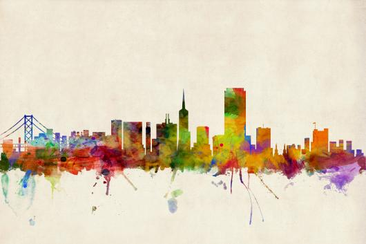 San Francisco City Skyline 2x3 from the Skylines collection by ArtPause