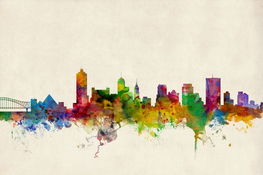 Memphis Tennessee Skyline 2x3 from the Skylines collection by ArtPause