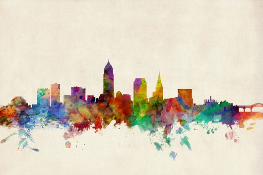 Cleveland Ohio Skyline 2x3 from the Skylines collection by ArtPause