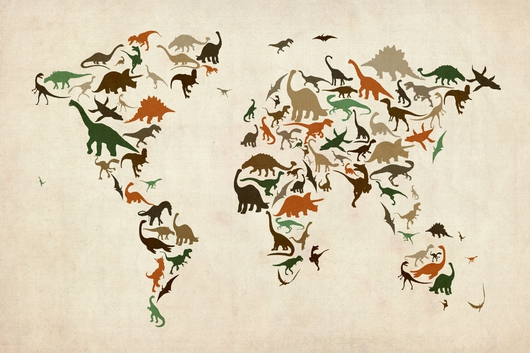 Dinosaur Map of the World Map 2x3 from the Maps collection by ArtPause