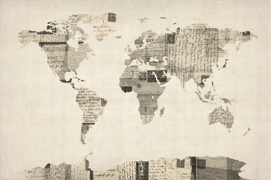 Map of the World Map from Old Postcards 2x3 from the Maps collection by ArtPause