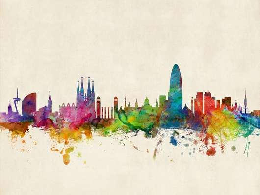 Barcelona Spain Skyline on Beige from the Skylines collection by ArtPause