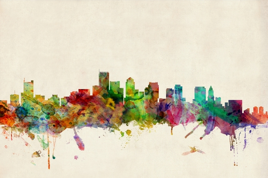 Boston Massachusetts Skyline on Beige from the Skylines collection by ArtPause