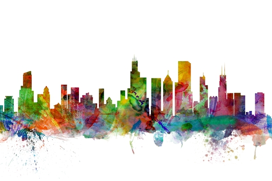 Chicago Illinois Skyline 2x3 from the Skylines collection by ArtPause