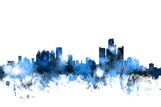 Detroit Michigan Skyline 2x3 from the Skylines collection by ArtPause