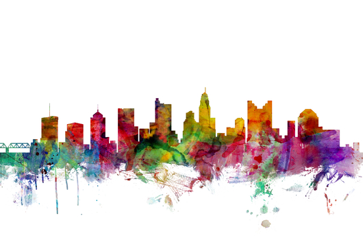 Columbus Ohio Skyline 2x3 from the Skylines collection by ArtPause