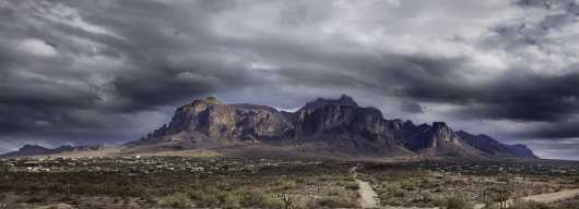 Storm Over Superstitions Pano from the Desert Panoramas collection by Lou Oates