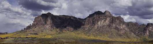 Superstition Mountain Yellow Flowers from the Desert Panoramas collection by Lou Oates