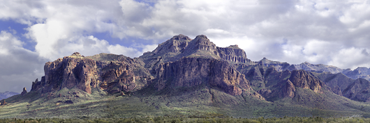 Superstition Summer Clouds Pano from the Desert Panoramas collection by Lou Oates