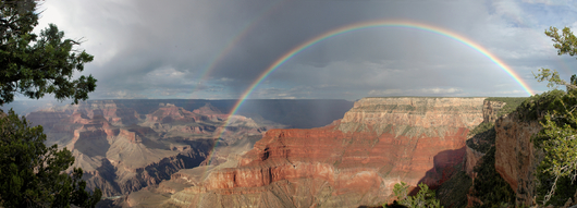 Grand Canyon Rainbow Storm Pano from the Desert Southwest collection by Art4Artists