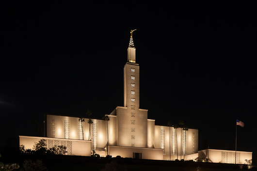 LDS Temple Los Angeles at Night from the Temples and Churches collection by Art4Artists
