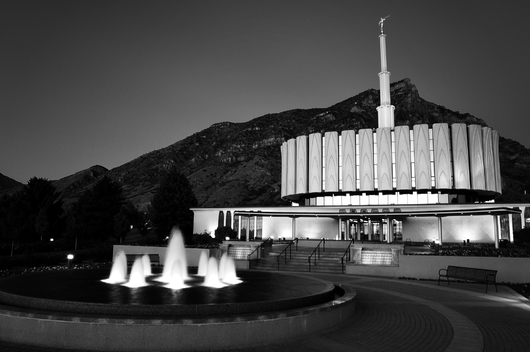 LDS Temple Provo Utah at Night B&W from the Temples and Churches collection by Art4Artists