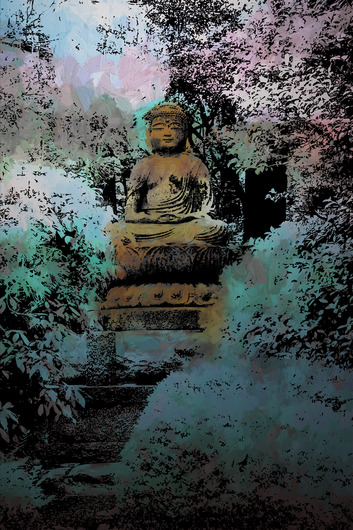 Colorful Buddha Teal from the Travel Outside the US collection by Ladee K Rickard
