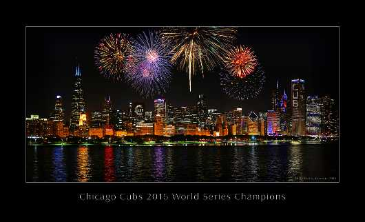 Chicago Cubs World Series Victory Commemorative Poster with Caption from the Chicago Cubs 2016 World Series Skyline collection by Alicia's Photography