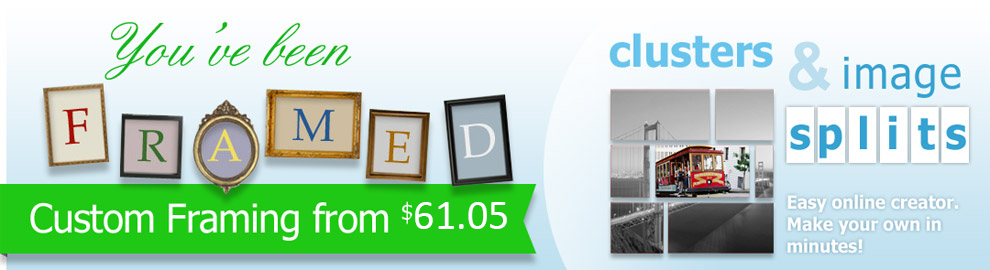 Custom framing and image splits/wall clusters